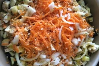 Berinjela e cenoura assada